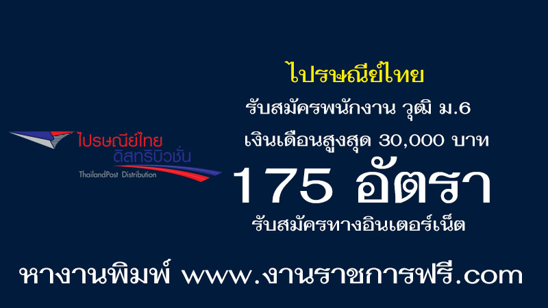 ไปรษณีย์ไทย 175 อัตรา