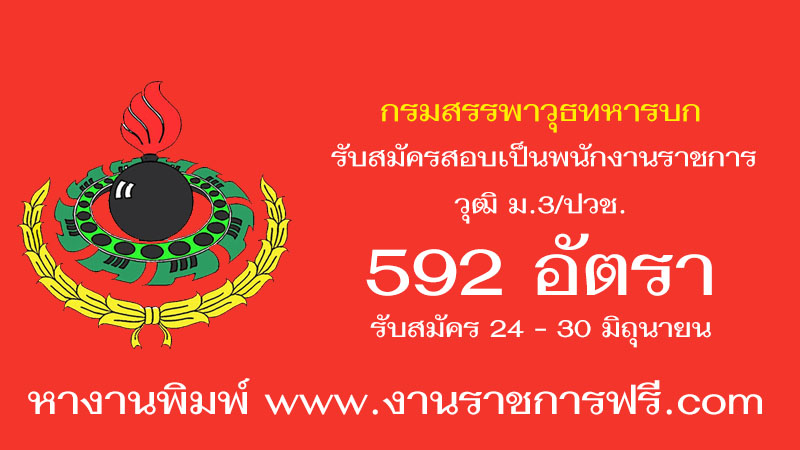 กรมสรรพาวุธทหารบก 592 อัตรา